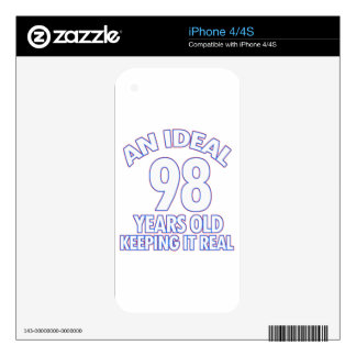 98th birthday designs skins for iPhone 4S