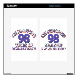 98th birthday designs skins for kindle fire