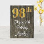 [ Thumbnail: 98th Birthday: Elegant Faux Gold Look #, Faux Wood Card ]