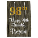 [ Thumbnail: 98th Birthday: Elegant Faux Gold Look #, Faux Wood Gift Bag ]