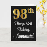 [ Thumbnail: 98th Birthday ~ Elegant Luxurious Faux Gold Look # Card ]