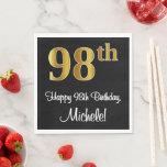 [ Thumbnail: 98th Birthday ~ Elegant Luxurious Faux Gold Look # Napkins ]