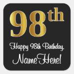 [ Thumbnail: 98th Birthday - Elegant Luxurious Faux Gold Look # Sticker ]