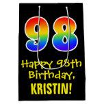 "[ Thumbnail: 98th Birthday: Fun, Bold, Colorful, Rainbow ""98"" Gift Bag ]"