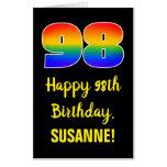 [ Thumbnail: 98th Birthday: Fun, Colorful, Happy, Rainbow # 98 Card ]