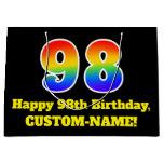 [ Thumbnail: 98th Birthday ~ Fun, Colorful, Vibrant, Rainbow 98 Gift Bag ]