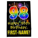 [ Thumbnail: 98th Birthday: Fun Fireworks Pattern + Rainbow 98 Gift Bag ]