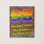 [ Thumbnail: 98th Birthday: Fun Graffiti-Inspired Rainbow 98 Jigsaw Puzzle ]