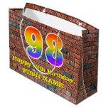 [ Thumbnail: 98th Birthday: Fun, Graffiti-Inspired Rainbow # 98 Gift Bag ]