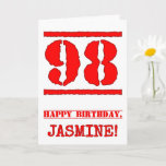 [ Thumbnail: 98th Birthday: Fun, Red Rubber Stamp Inspired Look Card ]