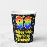 [ Thumbnail: 98th Birthday: Fun Stars Pattern and Rainbow 98 ]