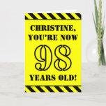 [ Thumbnail: 98th Birthday: Fun Stencil Style Text, Custom Name Card ]