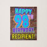 [ Thumbnail: 98th Birthday ~ Fun, Urban Graffiti Inspired Look Jigsaw Puzzle ]