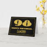"[ Thumbnail: 98th Birthday: Name + Art Deco Inspired Look ""98"" Card ]"