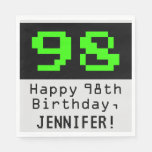 """[ Thumbnail: 98th Birthday - Nerdy / Geeky Style """"98"""" & Name Napkins ]"""
