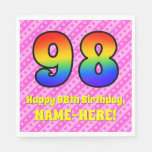 [ Thumbnail: 98th Birthday: Pink Stripes & Hearts, Rainbow # 98 Napkins ]
