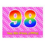 [ Thumbnail: 98th Birthday: Pink Stripes & Hearts, Rainbow 98 Postcard ]