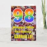 "[ Thumbnail: 98th Birthday; Rustic Autumn Leaves; Rainbow ""98"" Card ]"