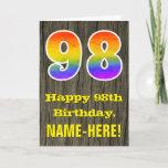 "[ Thumbnail: 98th Birthday: Rustic Faux Wood Look, Rainbow ""98"" Card ]"