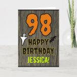 [ Thumbnail: 98th Birthday: Spooky Halloween Theme, Custom Name Card ]