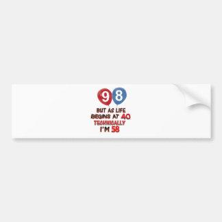 98th year birthday designs bumper sticker