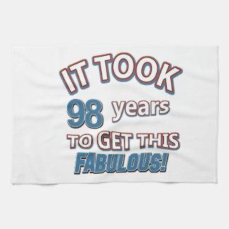 98th year birthday designs towels