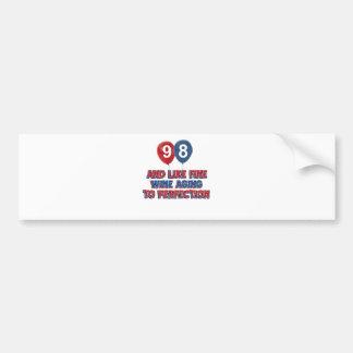 98th year old birthday designs bumper stickers