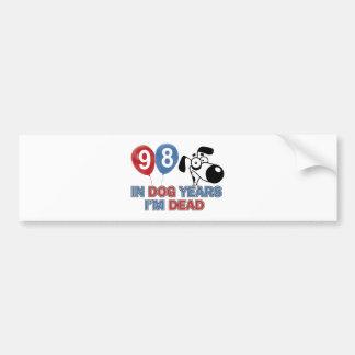98th year old birthday designs bumper sticker