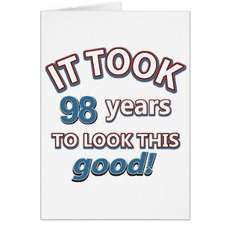 98th year old birthday designs greeting card