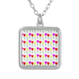 990573 RED PURPLE YELLOW SPRING TULIPS VECTORS PAT SILVER PLATED NECKLACE