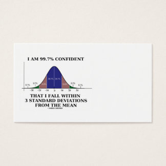 99.7% Confident Within 3 Standard Deviations Business Card