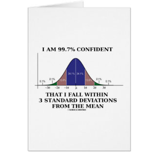 99.7% Confident Within 3 Standard Deviations Mean Greeting Card