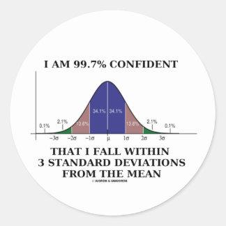 99.7% Confident Within 3 Standard Deviations Mean Classic Round Sticker