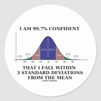 99.7% Confident Within 3 Standard Deviations Mean Stickers