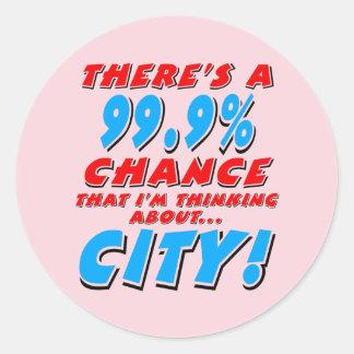 99.9% CITY (blk) Classic Round Sticker