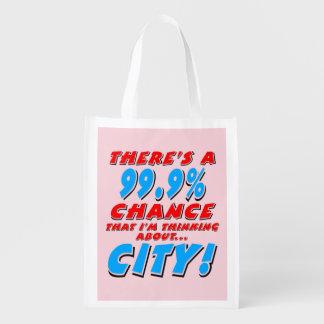 99.9% CITY (blk) Grocery Bag