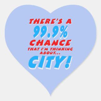 99.9% CITY (wht) Heart Sticker