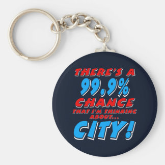 99.9% CITY (wht) Keychain