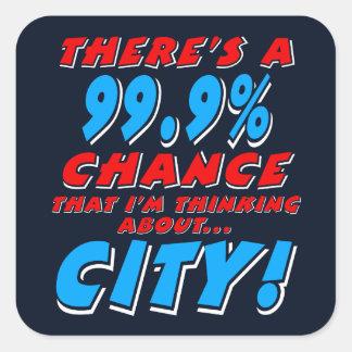 99.9% CITY (wht) Square Sticker