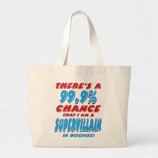 99.9% I am a SUPER VILLAIN (blk) Large Tote Bag