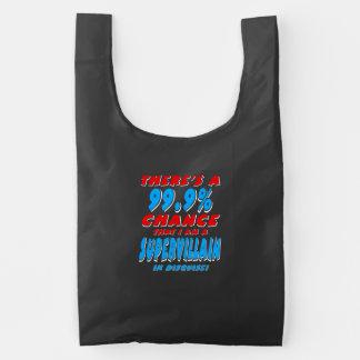 99.9% I am a SUPER VILLAIN (wht) Reusable Bag