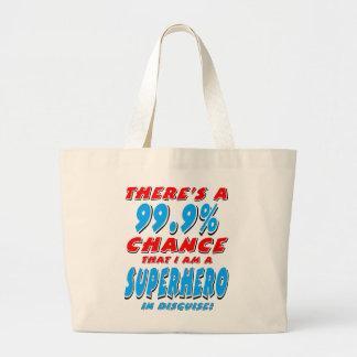 99.9% I am a SUPERHERO (blk) Large Tote Bag