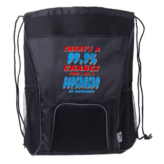 99.9% I am a SUPERHERO (wht) Drawstring Backpack
