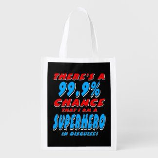 99.9% I am a SUPERHERO (wht) Grocery Bag