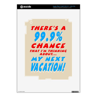 99.9% NEXT VACATION (wht) Skins For iPad 3