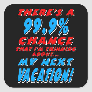 99.9% NEXT VACATION (wht) Square Sticker