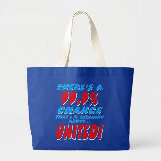 99.9% UNITED (wht) Large Tote Bag