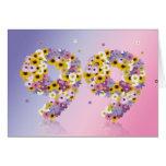 99.a tarjeta de cumpleaños con las letras floridas