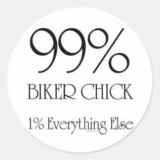 99% Biker Chick Classic Round Sticker