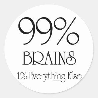 99% Brains Classic Round Sticker
